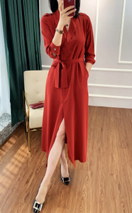Heavy Silk CDC Silk Long Dress Red