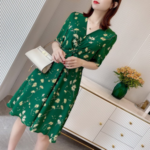 Digital Print Green Satin Silk Dress Long for Womens