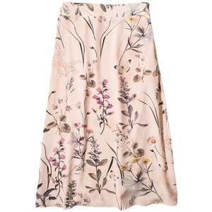A Line Floral Printed Mid Length Silk Skirt
