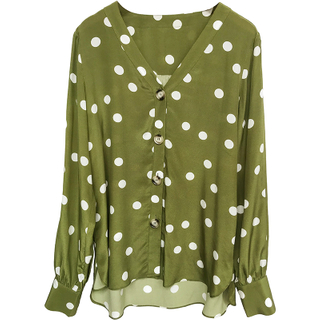 Classic Real Polka Dot Emerald Green Silk Shirt