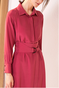 Long Sleeve Elegant Silk Shirt Dress in Wine Red