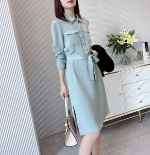 Silk Blue Shirt Dress UK with Split