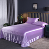 Washable 100% Percent Mulberry Purple Silk Flat Sheets with Skirt