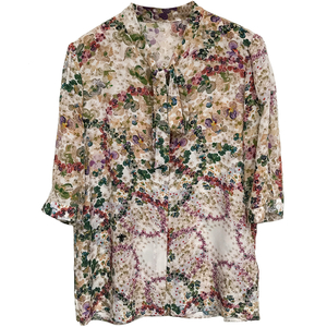 Floral Printed Long Sleeve Button Down Silk Blouse Womens