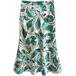 Floral Printed Silk Midi Skirt