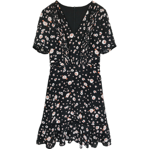 Oriental Mulberry Flower Silk Midi Dress