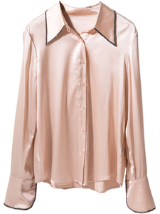 Silk Charmeuse Long Sleeve Silk Button Down Blouse with hand beads