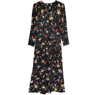 Digital Flower Print Silk Wrap Maxi Dress with Split for girls