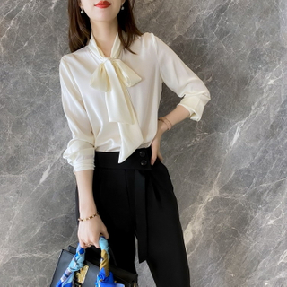 Pure White Silk Button Up Shirt for Ladies