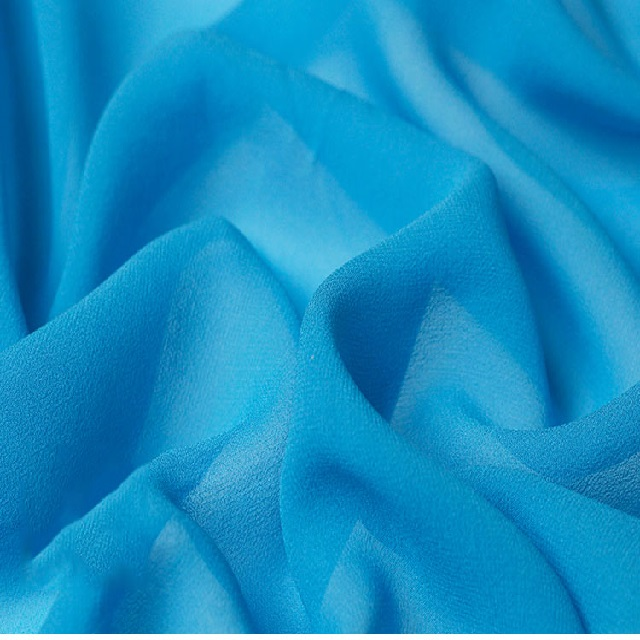 High Quality Silk Georgette Fabric in Blue